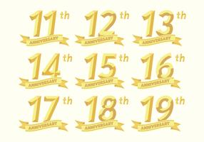 11th to 19th anniversary badges