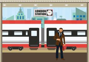 TGV station business man waiting train vector illustration