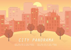 Warm Sunset City Panorama Vector Illustration