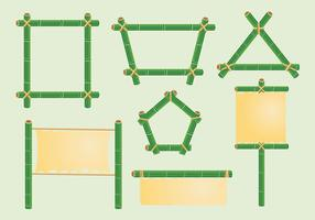 Frame shape green bamboo vector pack