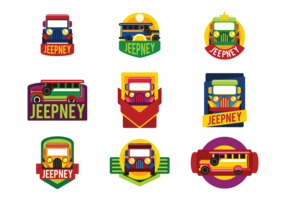 Jeepney Labels Vector