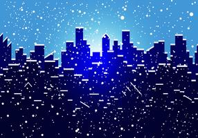 Silhouette Of City In Snow