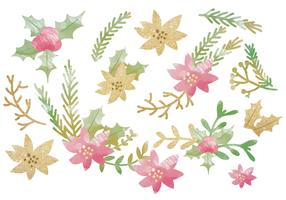 Vector Glitter Winter Floral Objects