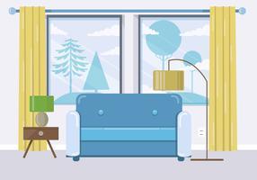 Blue Vector Room Illustration