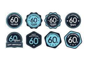 Blue 60TH Anniversary Badge Vectors