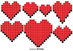 Vector Pixel Hearts