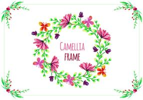 Free Vector Frame with Camellias
