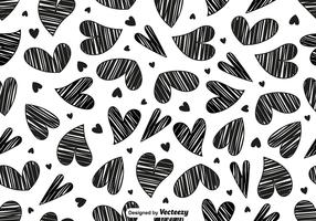 Vector Doodle Heart Seamless Pattern
