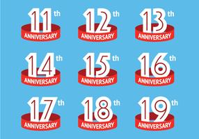Anniversary logos with red ribbon