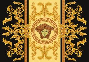 Modern Border Vector Illustration Versace Style with Gold Vintage Greek Key