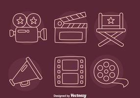 Film Element Line Icons Vector