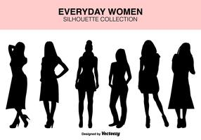 Vector Set Of Women Silhouettes
