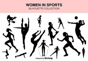 Vector Set Of Sport Women Silhouettes