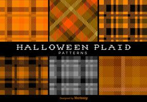 Halloween Trendy Plaid Patterns Vector Backgrounds