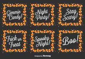Vector Set Of Halloween Messages