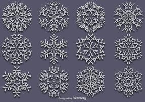 Vector Set Of 12 White Snowflakes