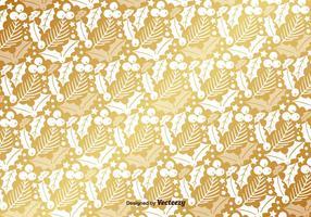 Golden Mistletoe Vector Pattern