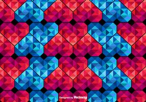 Vector Polygonal Hearts Seamless Pattern