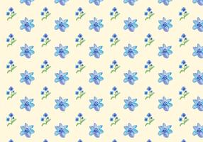 Watercolor Blue Flowers Free Vector Seamless Pattern