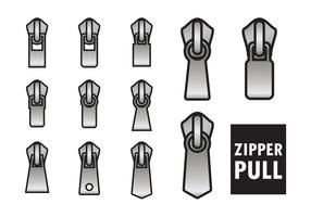 Outlined Zipper Pull Vectors
