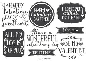 Cute Hand Drawn Style Valentine's Day Labels