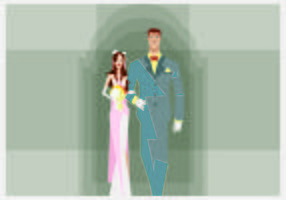 Bride and Groom Walking Illustration