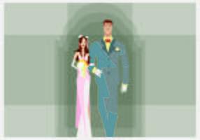 Bride and Groom Walking Illustration