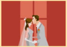 A Groom Kisses His Bride Illustration