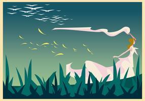 Bride Walking in the Meadow Illustration