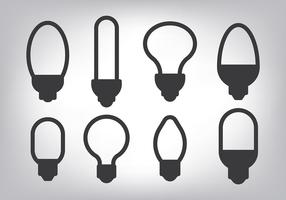 Simple Light Ampoule Icons Vector