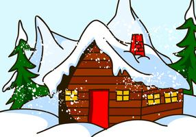 Chalet House in Snow Vector
