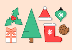 Minimalist Christmas Elements Vector
