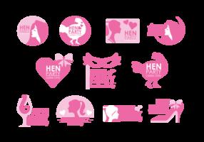 Hen Party Badges Vector
