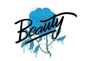 Beauty Blue Flower Lettering
