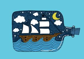 Hand Drawn Ship in a Bottle Vector