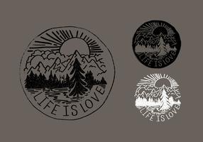 Life Is Love Mountain Badge Vectors