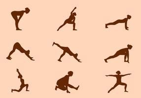 Silhouette of Yoga Pose Vectors