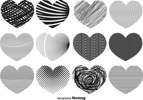 Vector Abstract Hearts Of Different Textures