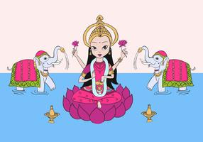 Lakshmi & Elephants Free Vector