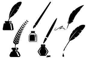Classic Inkwell Silhouette Vectors