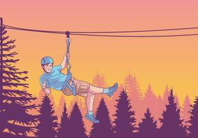 Kid Sliding Down A Zipline Vector