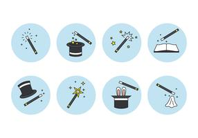 Magic Stick and Element Icons Set