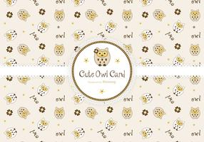 Cute Owls Greeting Card Vector