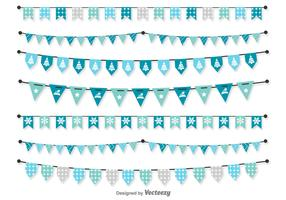 Christmas Blue Vector Pennants