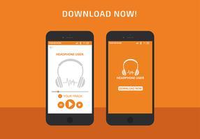 Headphone App Interface Vector