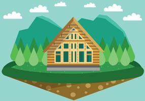 Quaint Forest Chalet Vector