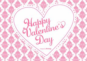 Cute Pink Damask Valentine's Day Background
