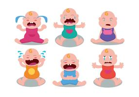 Cute Crying Baby Vector Set