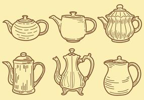 Sketchy Teapot Icons Vector