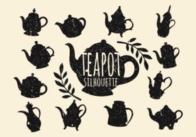 Vintage Teapot Silhouette Vector